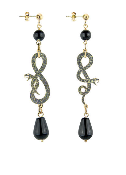 snake-eight-and-coiled-snake-small-black-earrings